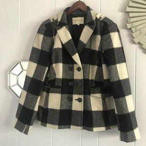Wool Plaid Check Jacket/Coat White & Black XL